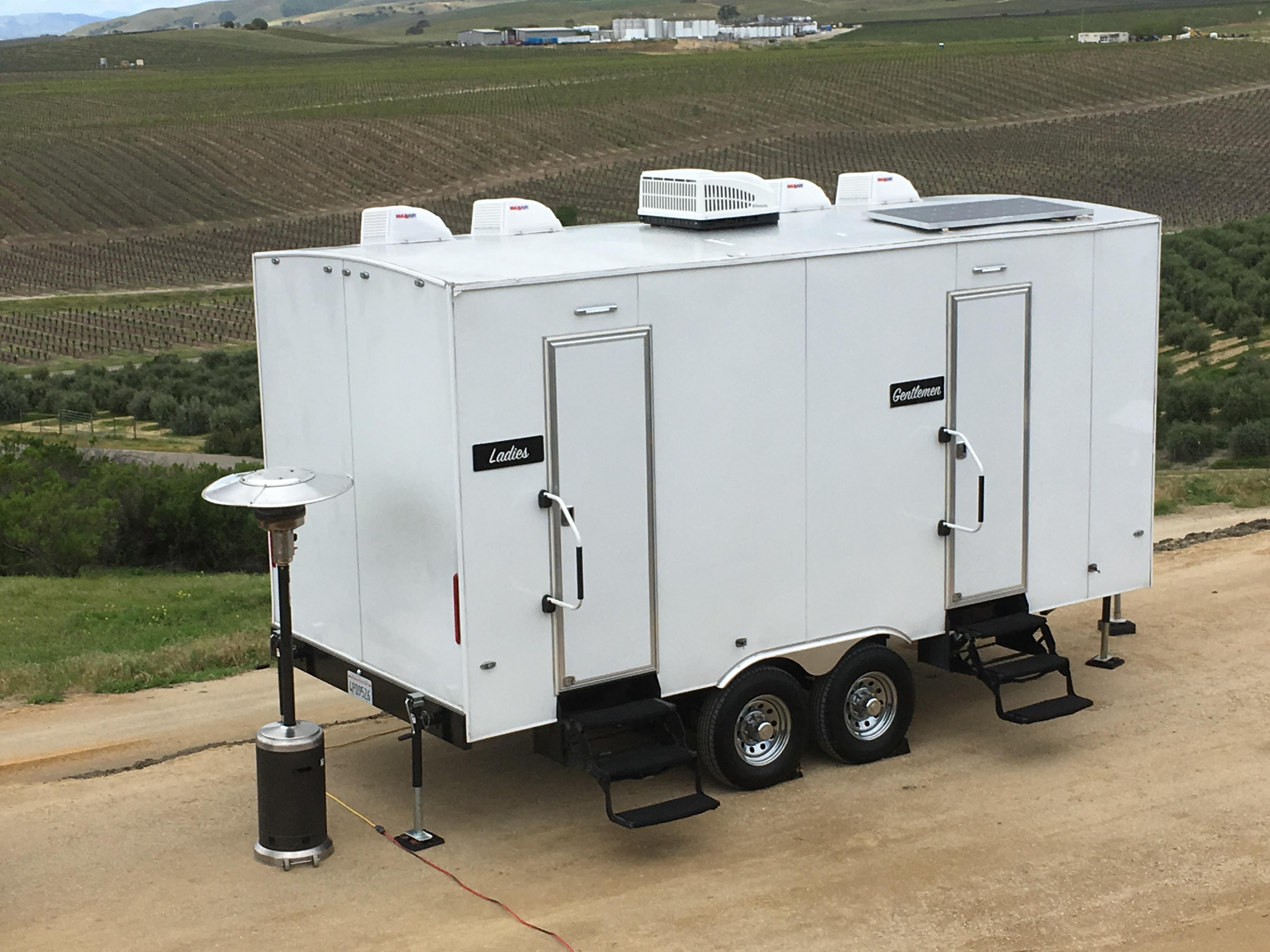 Meraz luxury rentals luxury portable restroom trailers for Portable bathroom trailers