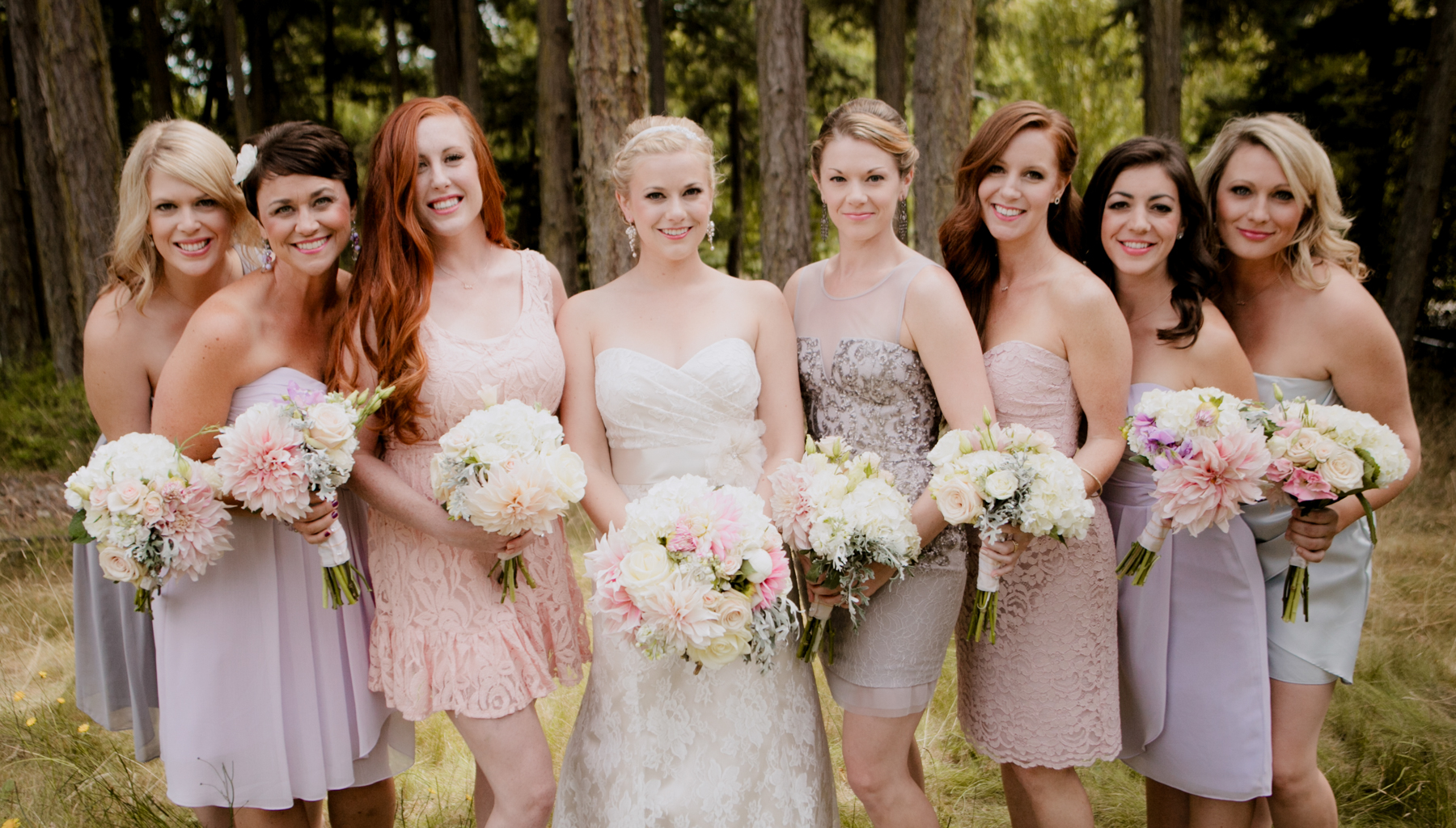 The girls all wore a dress of their choosing and looking fabulous. This NW weddings was on San Juan Island, just 1.5 hours and a ferry ride north of Seattle. This resort features both indoor and outdoor areas for a true NW experience with kayaking, crabbing, boating, and even catching a seaplane back to the city.