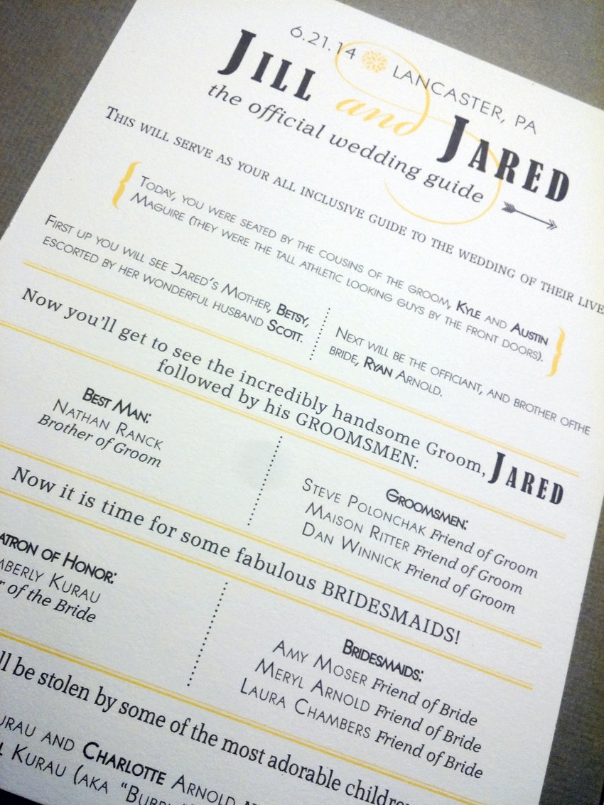 custom designed wedding ceremony program featuring a modern typography based layout in gray and yellow