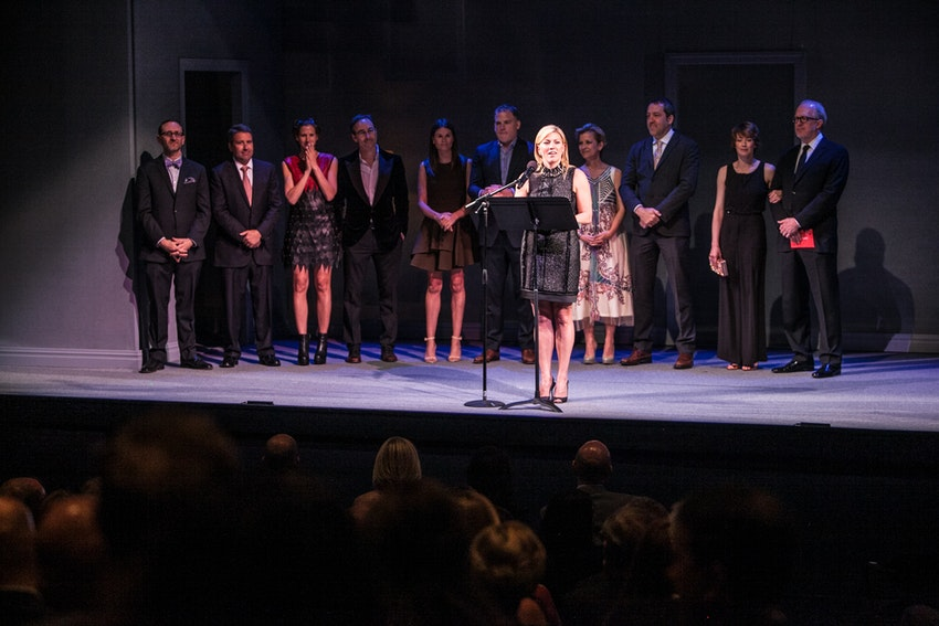 Steppenwolf Board Chair and 2016 Gala Co-Chair Nora Daley along with Steppenwolf Managing Director David Schmitz and 2016 Gala Co-Chairs Liz and Eric Lefkofsky, Caroline and Keating Crown, Anna D. Shapiro and Ian Barford, and Carrie Coon and Tracy Letts, welcome guests in the Downstairs Theatre.