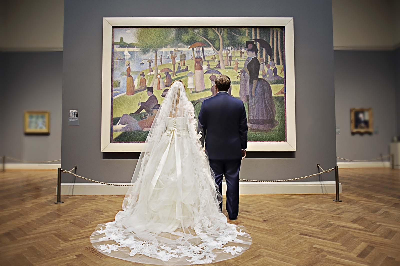 Bride and Groom at Art Institute of Chicago