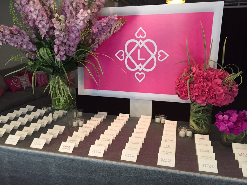Escort Cards adorned with beautiful florals
