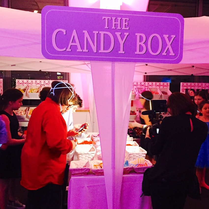 Indoor tent for dessert creates excitement for the candy bar and ice cream station.