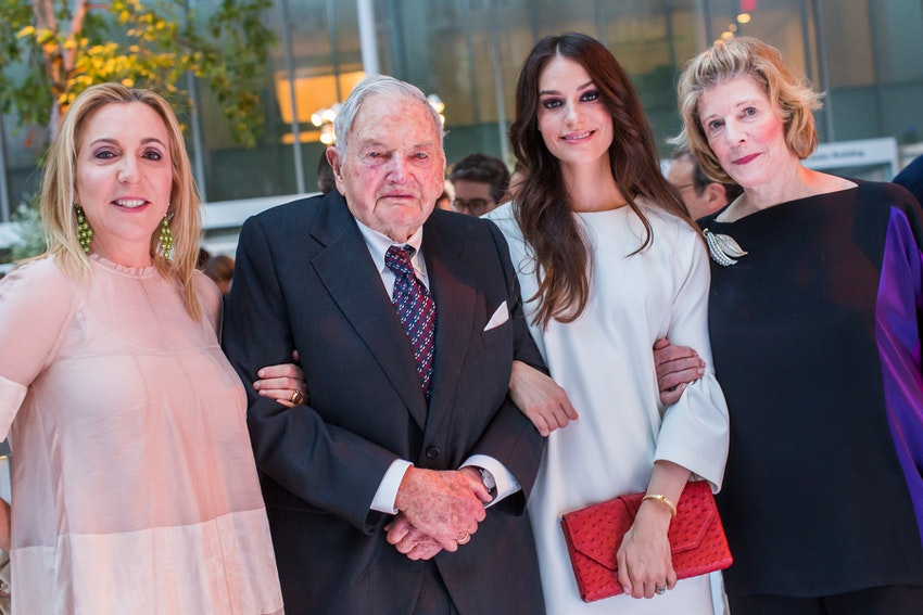 Susan Rockefeller, David Rockefeller, Ariana Rockefeller, and Agnes Gund