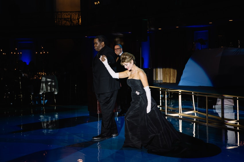 Bass-Baritone Eric Owens and Co-Chair Regan Rohde Friedmann take a bow during the Grand March of the Stars