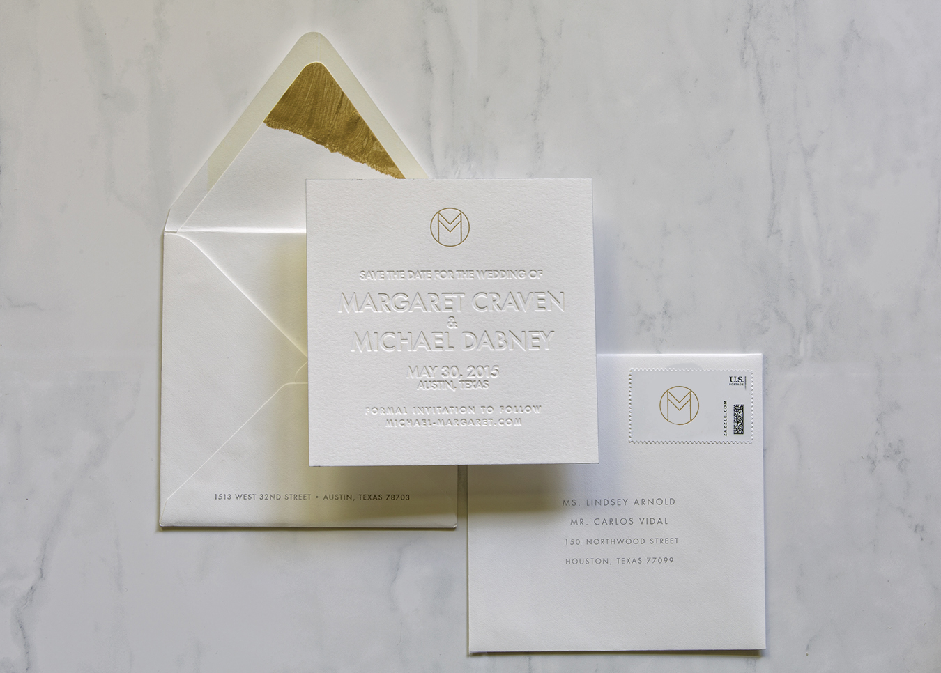 Custom Blind Letterpress Save the Dates with handprinted liners and oil foil monogram