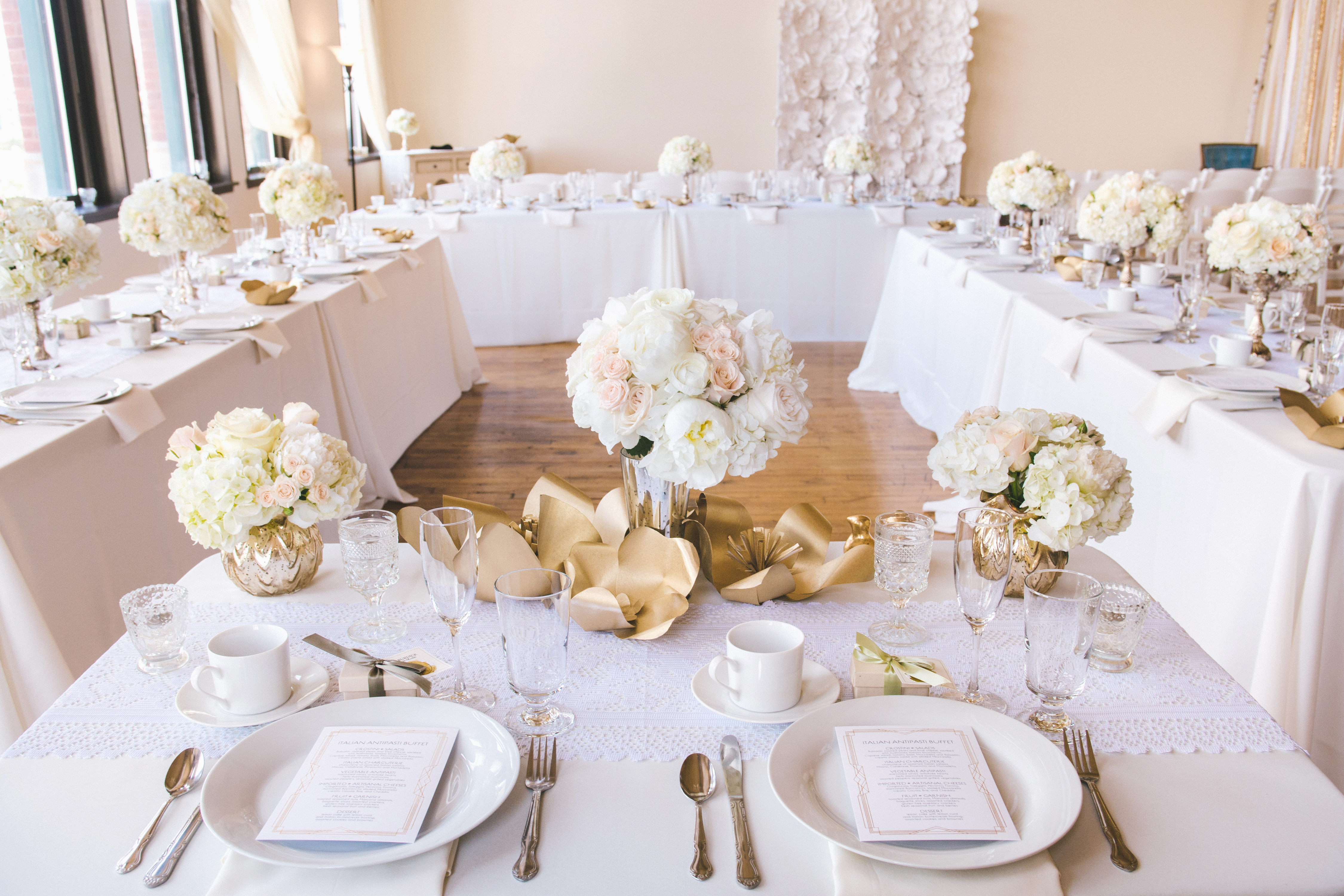 Ivory, gold and blush wedding dining tables.