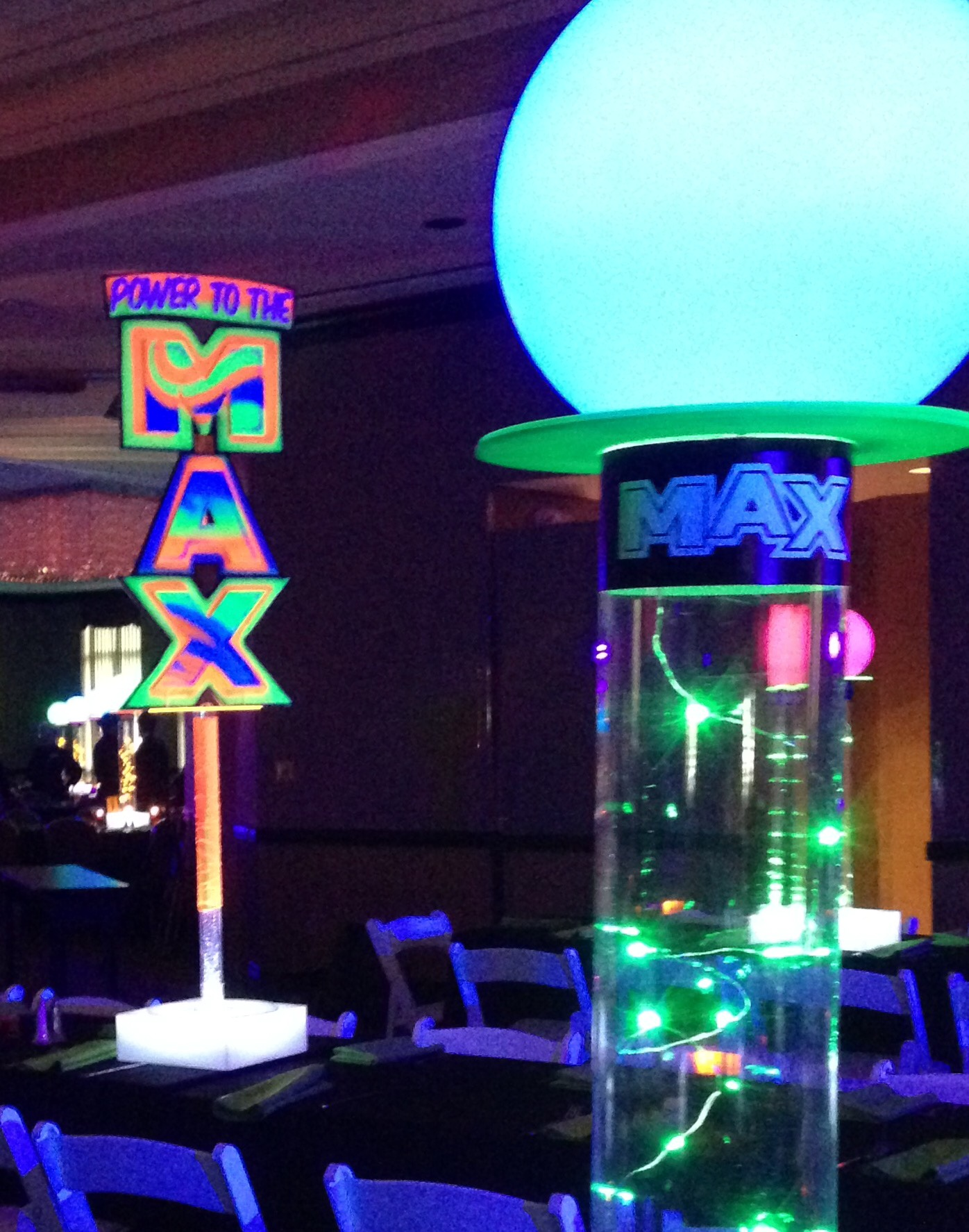 Glow in the Dark Bar Mitzvah - Power To the MAX - Kleifield Design & Associates, Inc.