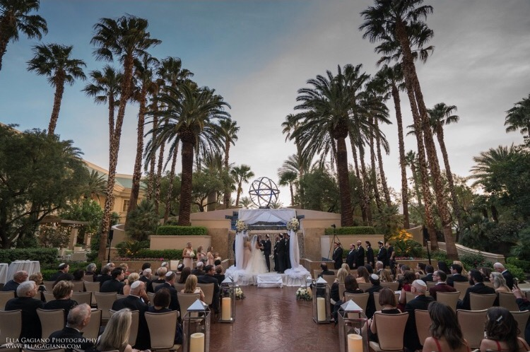 Ceremony at the Fountain on a Glorious Spring Evening in Las Vegas