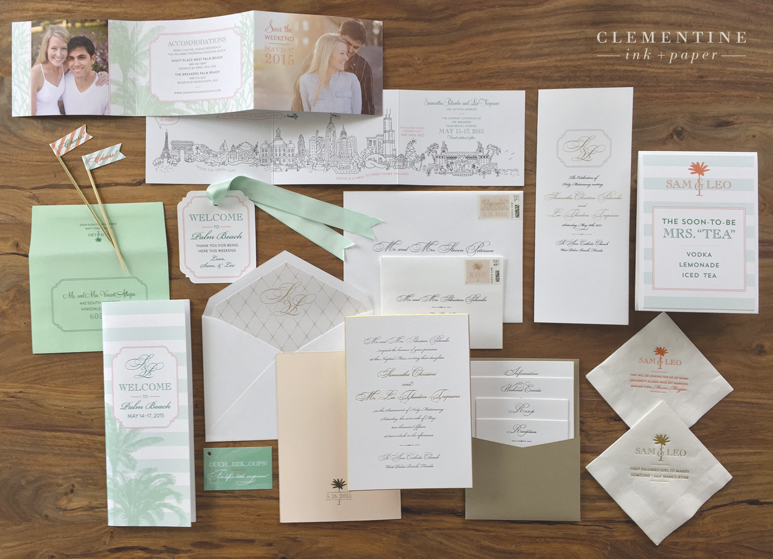 Complete custom stationery suite featuring hand-illustrated save the dates, letterpress invitations, fun weekend itinerary guides, drink flags and napkins.