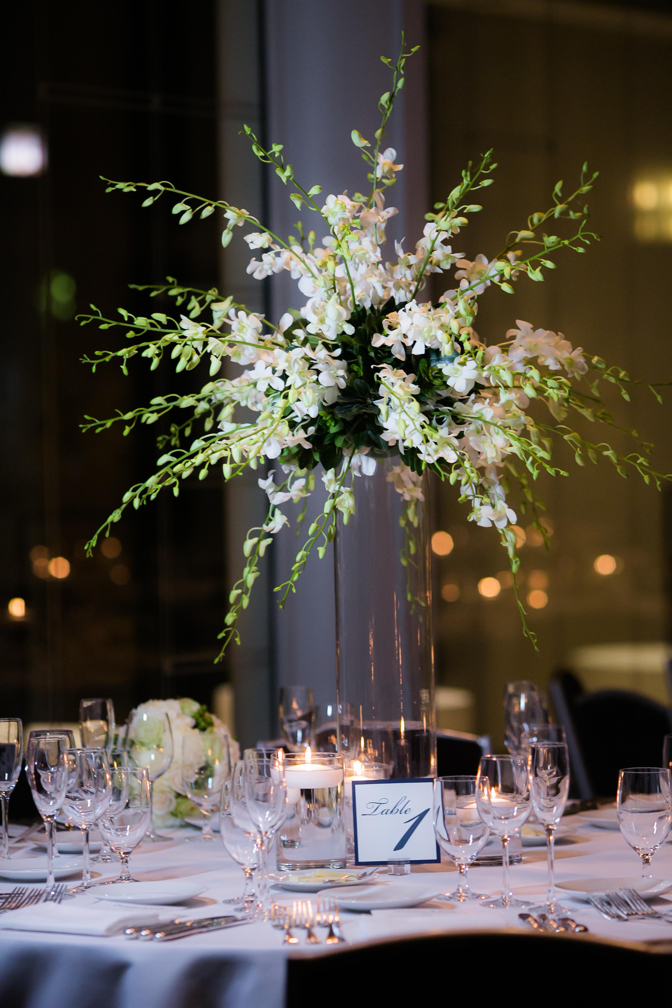 Elegant Green & White Wedding Reception - Spiaggia Restaurant and Lounge