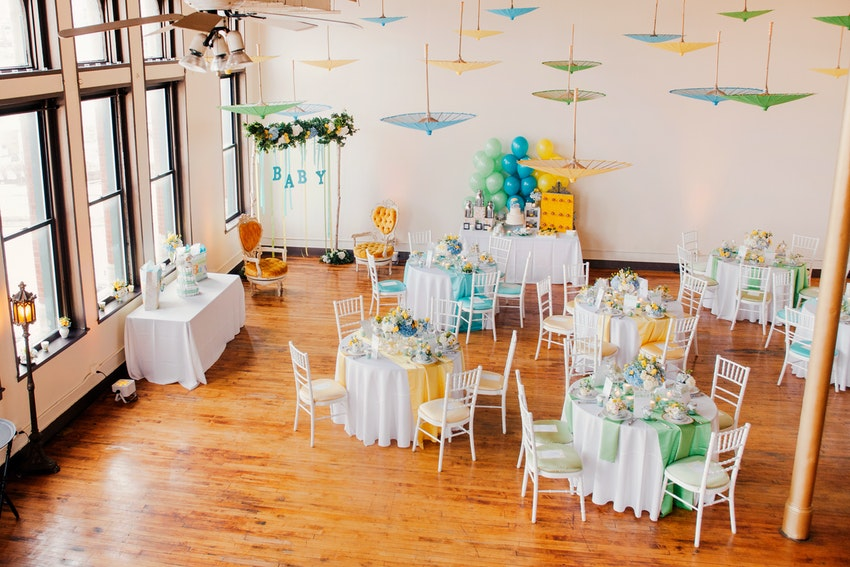 Spring baby shower, teal, blue and yellow.