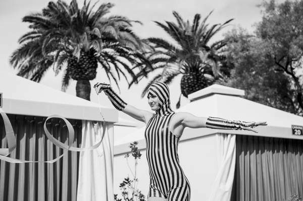black and white striped performer
