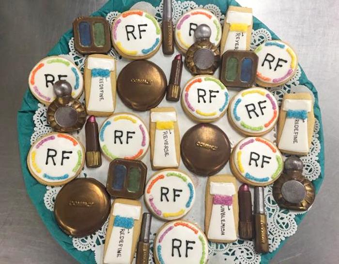 Rodan and Fields custom sugar cookie and chocolate make up tray.