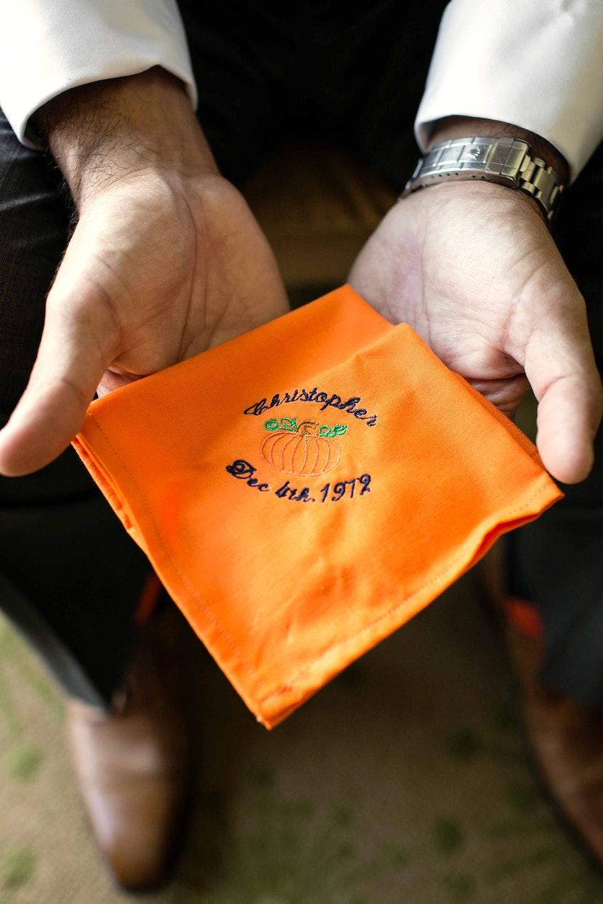 custom handkerchiefs in memory of bride's brother