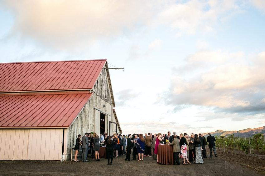 reception outside of barn