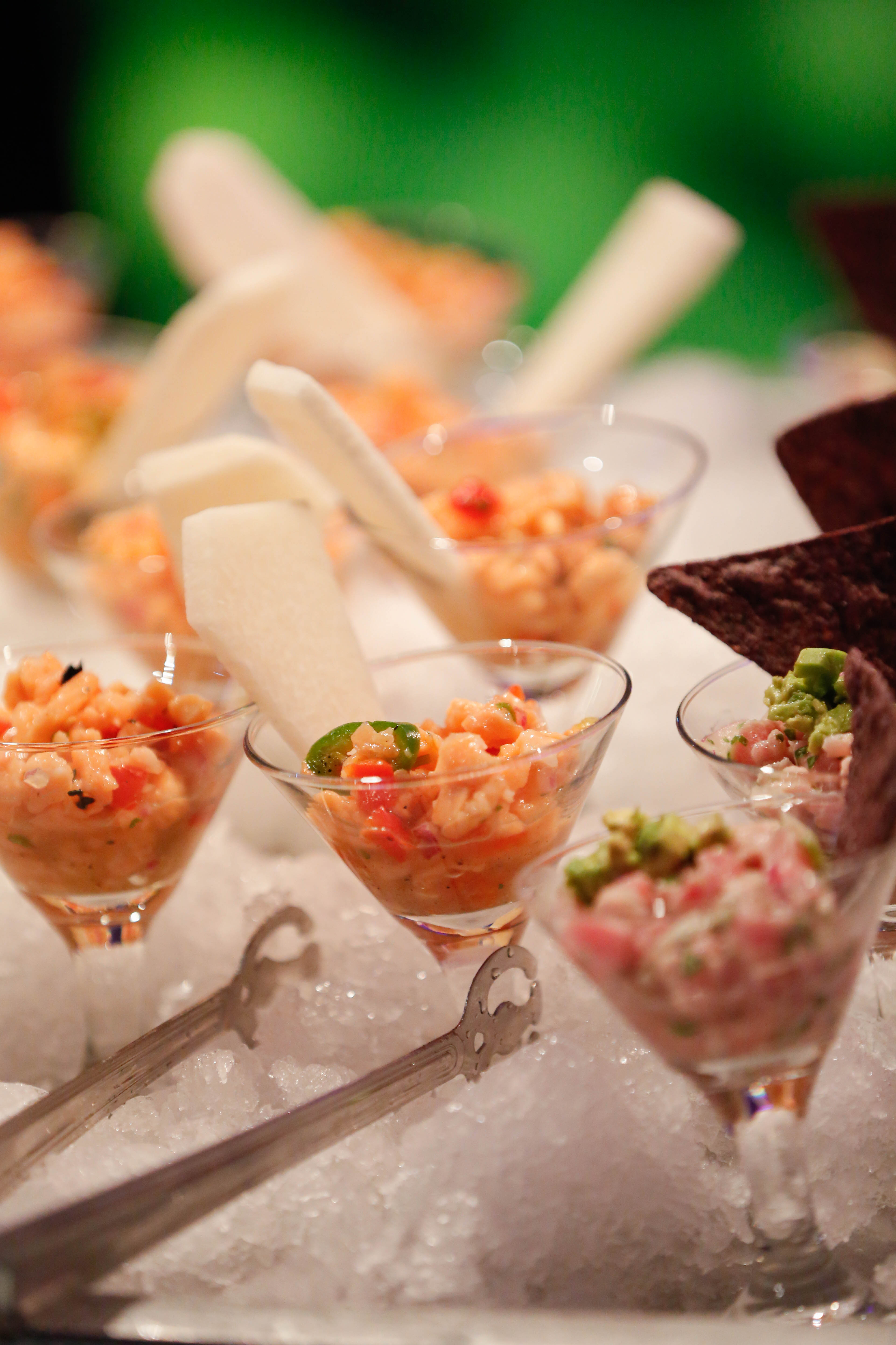 Shrimp Ceviche and Whitefish Ceviche Garnished with Blue Corn Tortilla Chips and Jicama Paddles