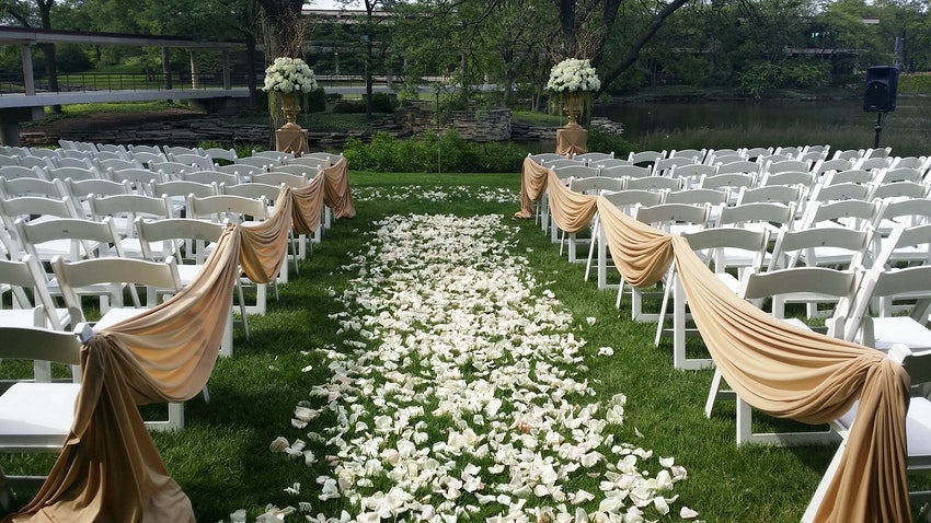 Outdoor weddings are always fun to provide floral and decor, especially if the weather is great!