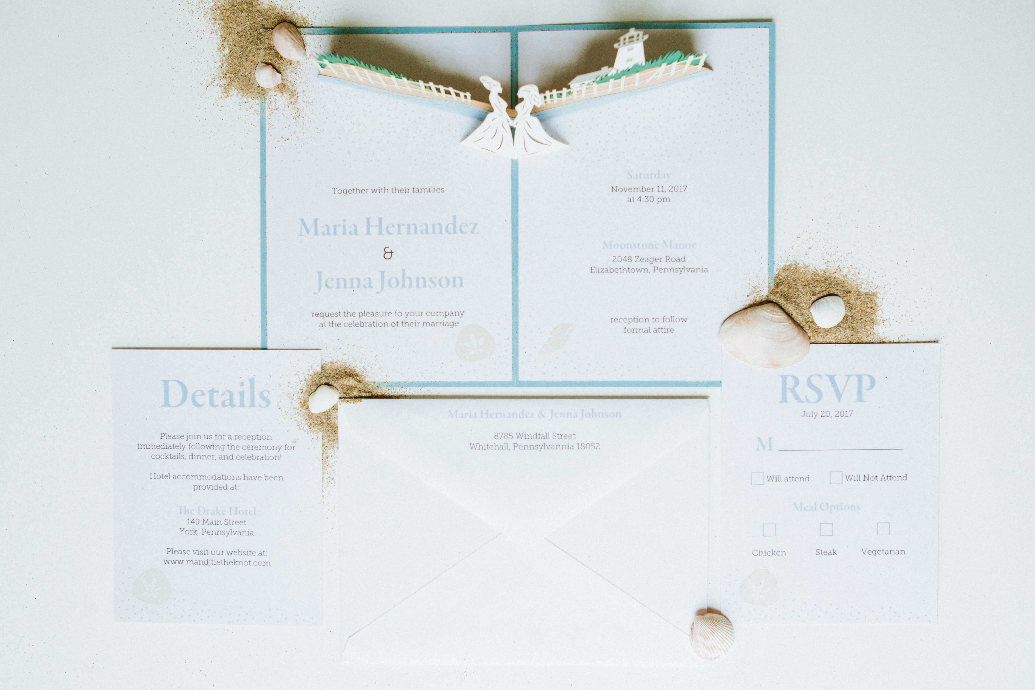 Our Lighthouse beach invitation is perfect for your seaside wedding