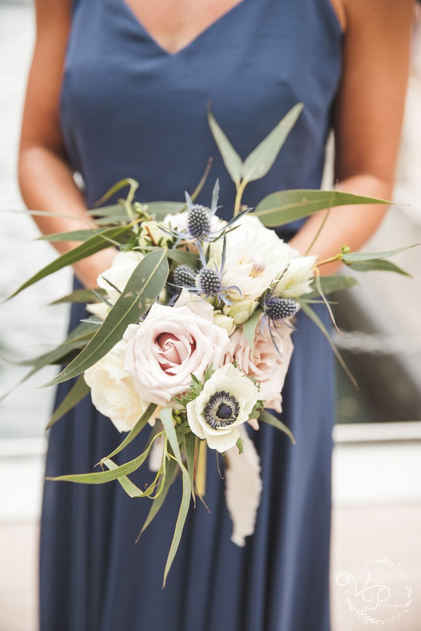 elegant summer wedding bridesmaid bouquet with white and blue flowers
