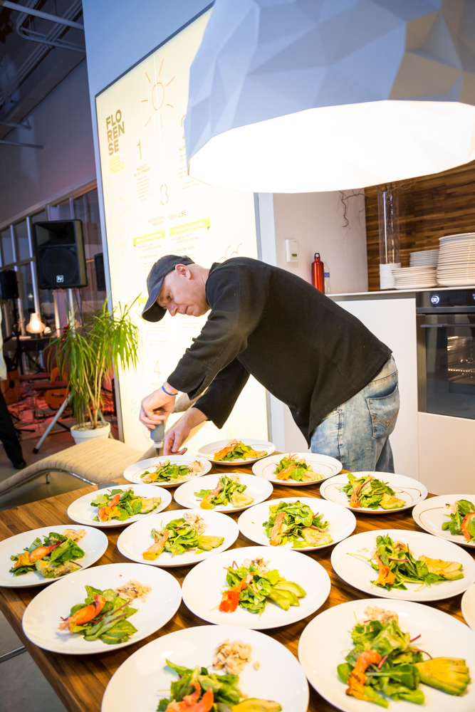 Chef CW doing what he does best at an interior design dinner/party at the Brazilian interior design location of Florense in Chicago.