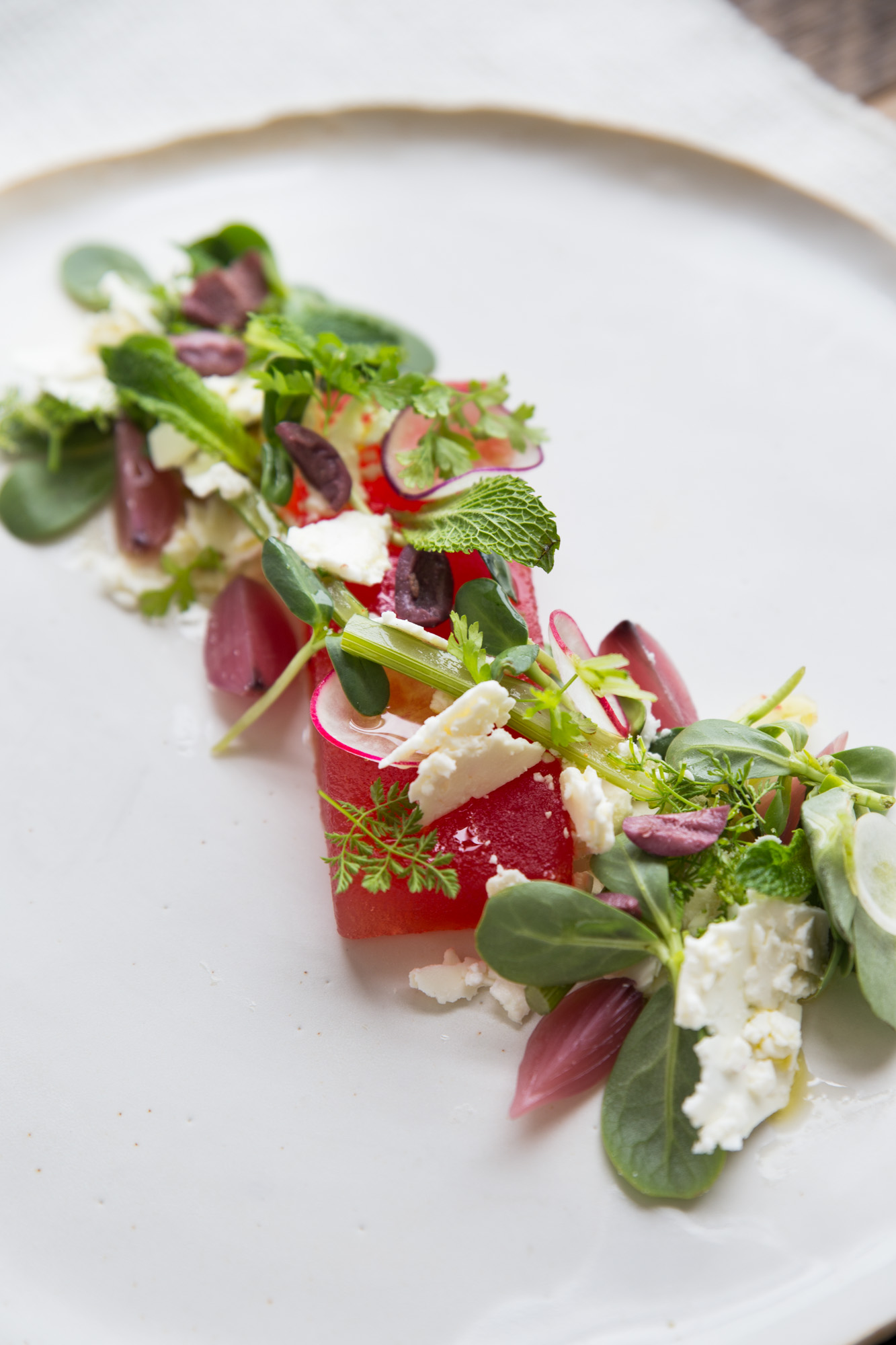 Watermelon Salad with Shaved Fennel and Feta