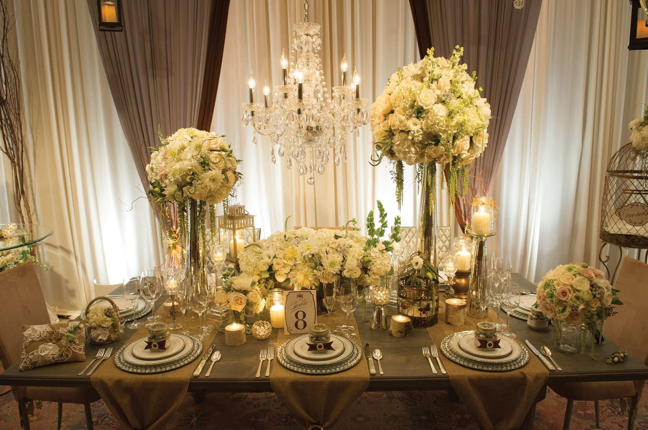 Captivating Head Table Decor Features Beautiful Natural White Roses With  Some Greenery Around. The Table