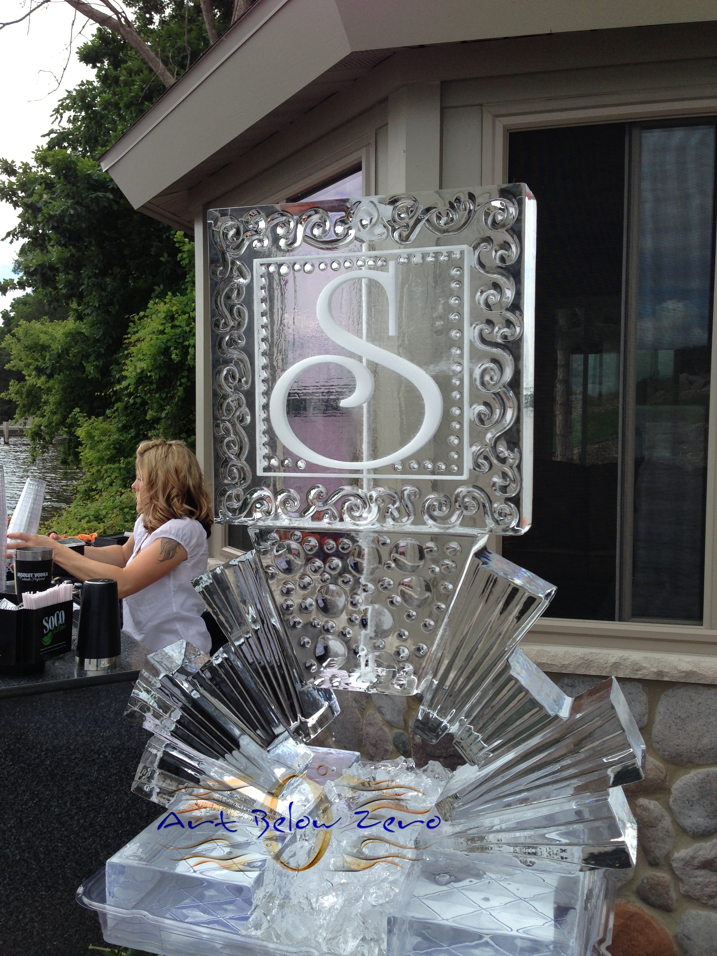 Monogram S martini luge ice sculpture