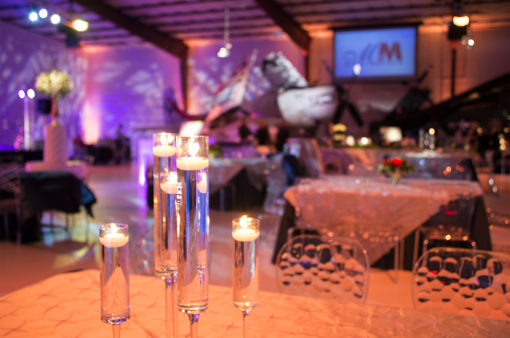 Texture- bubble chairs and lighting treatments transformed the space to industrial chic for this wonderful evening