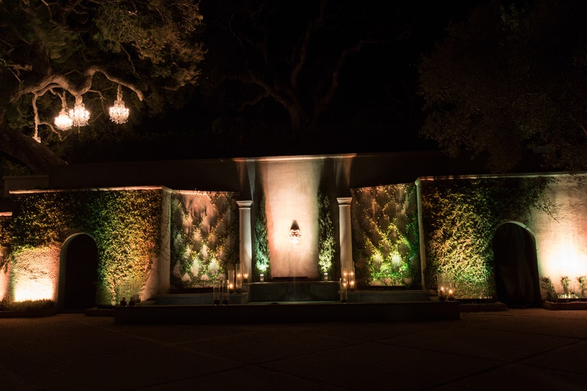 Bright uplighting along the lush wall of greenery and florals make for a dramatic touch.