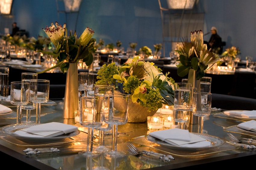 Gold and greens with warm candle glow made this mirror table shine.