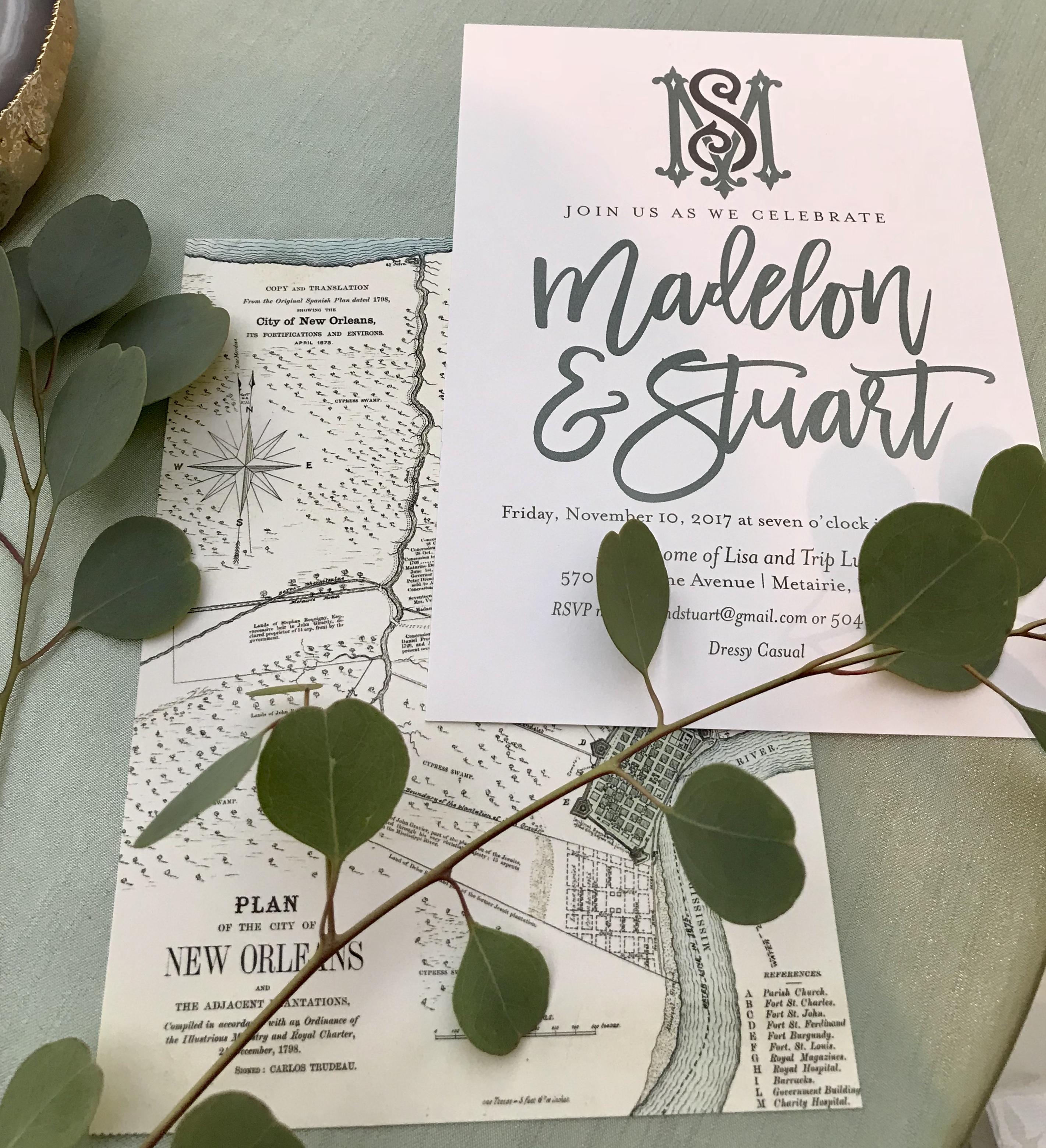 Custom invitations and graphics designed Z Event Company and local graphic designer