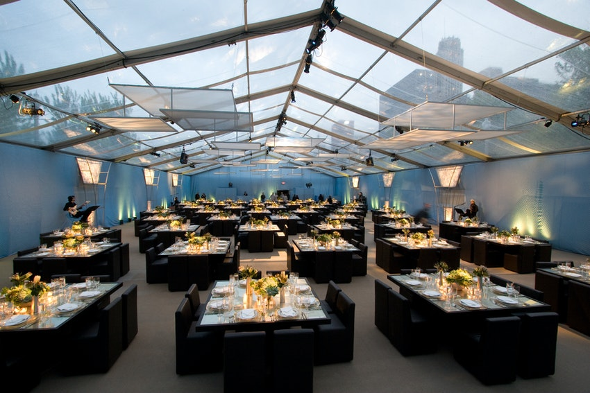 A gorgeous look into this see through tented venue made for a beautiful viewing of the city.