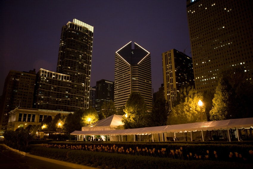 We lined all the walkways at Millennium Park with tented marquee's to protect the black tie guests from the rain.