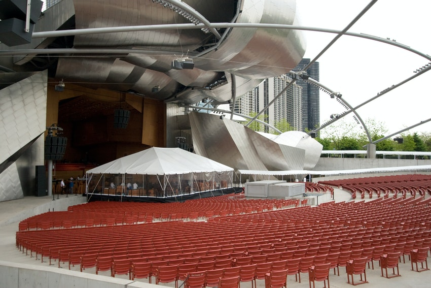 We extended the stage at Millennium Park to accommodate all of the guests at this milestone birthday event.