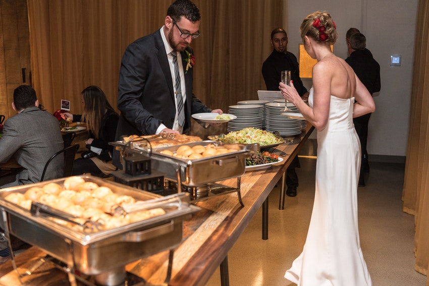 Brooke and Josh go through the buffet first! The menu included Mini Kobe Beef Sliders, Cripsy Chicken Sliders with Peppercorn BBQ Sauce, Caesar Salad, Charred Asparagus Salad and Mac 'n' Cheese Bar with hot sauce, crispy bacon and broccolo