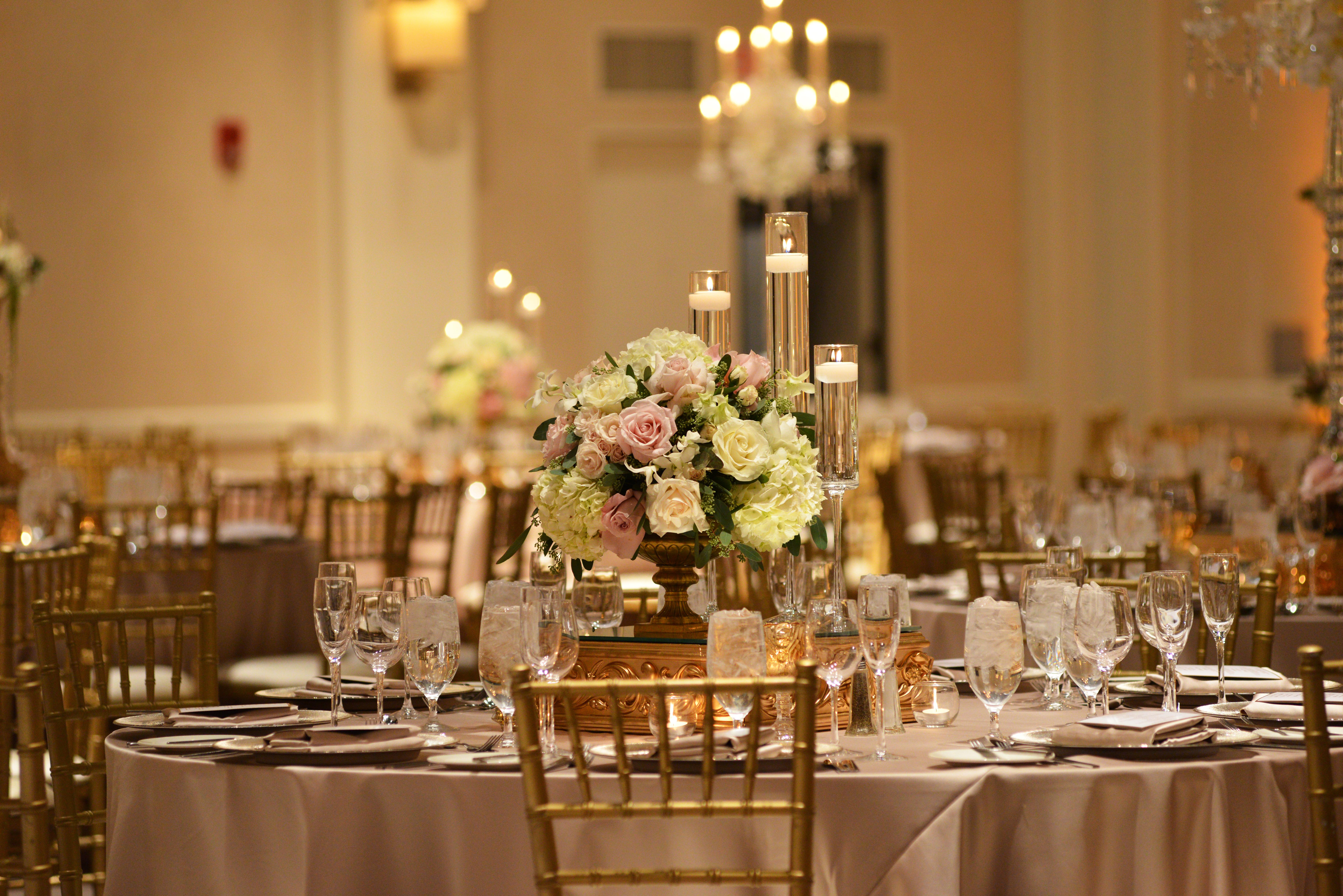 Elegant Gold Chandeliers and Fresh Floral - Yanni Design Studio