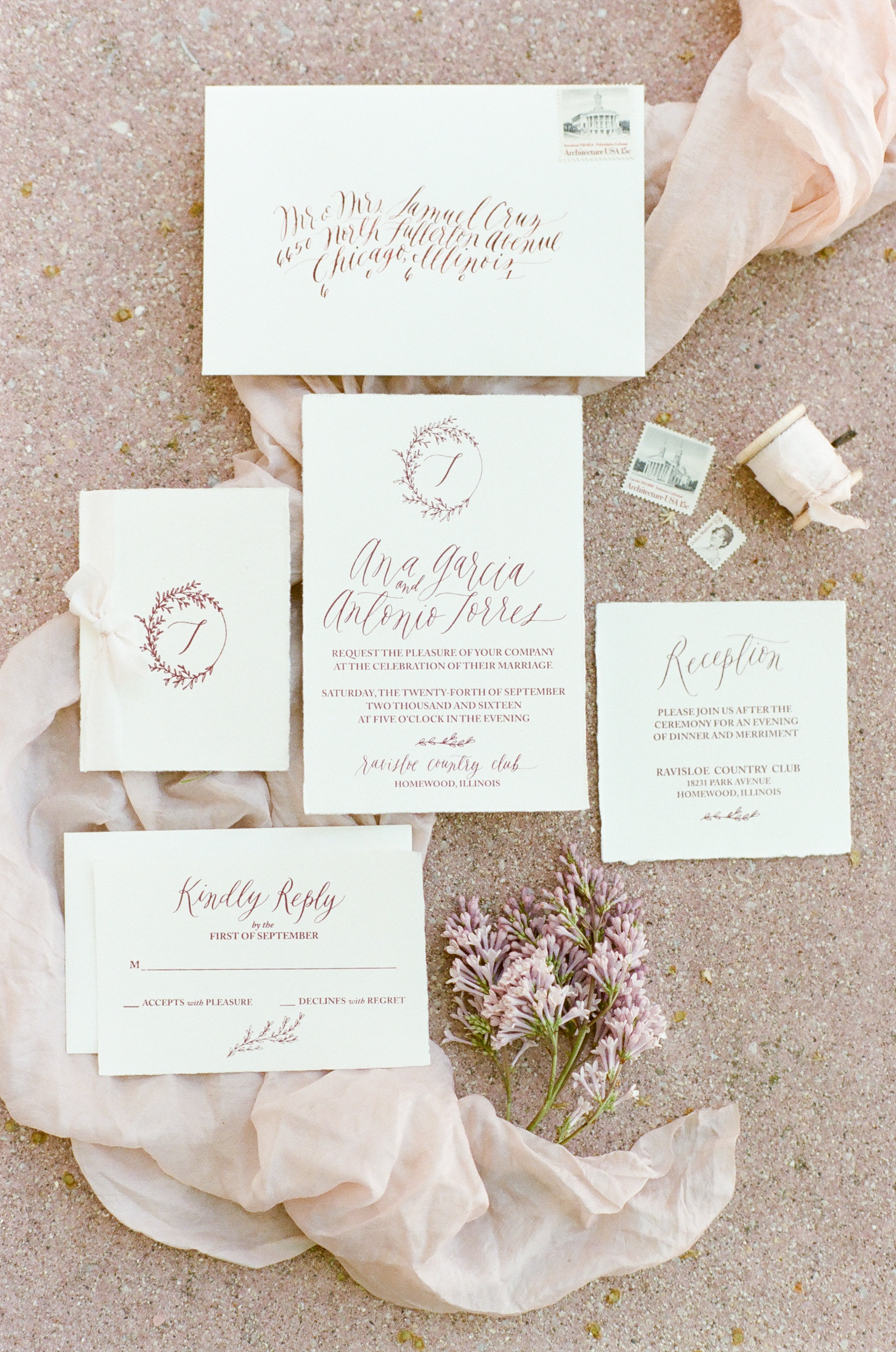 Calligraphed invitation suite.