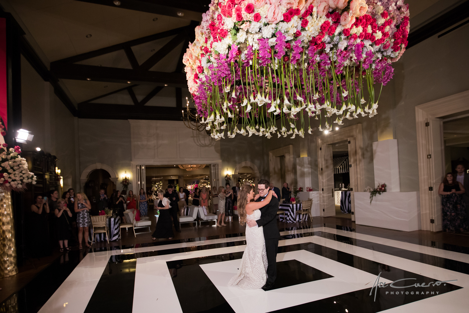 flowers, pink, white, black, chandelier