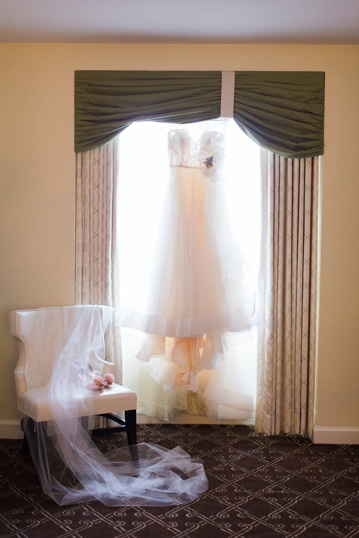 Lazaro wedding dress, veil and shoes.
