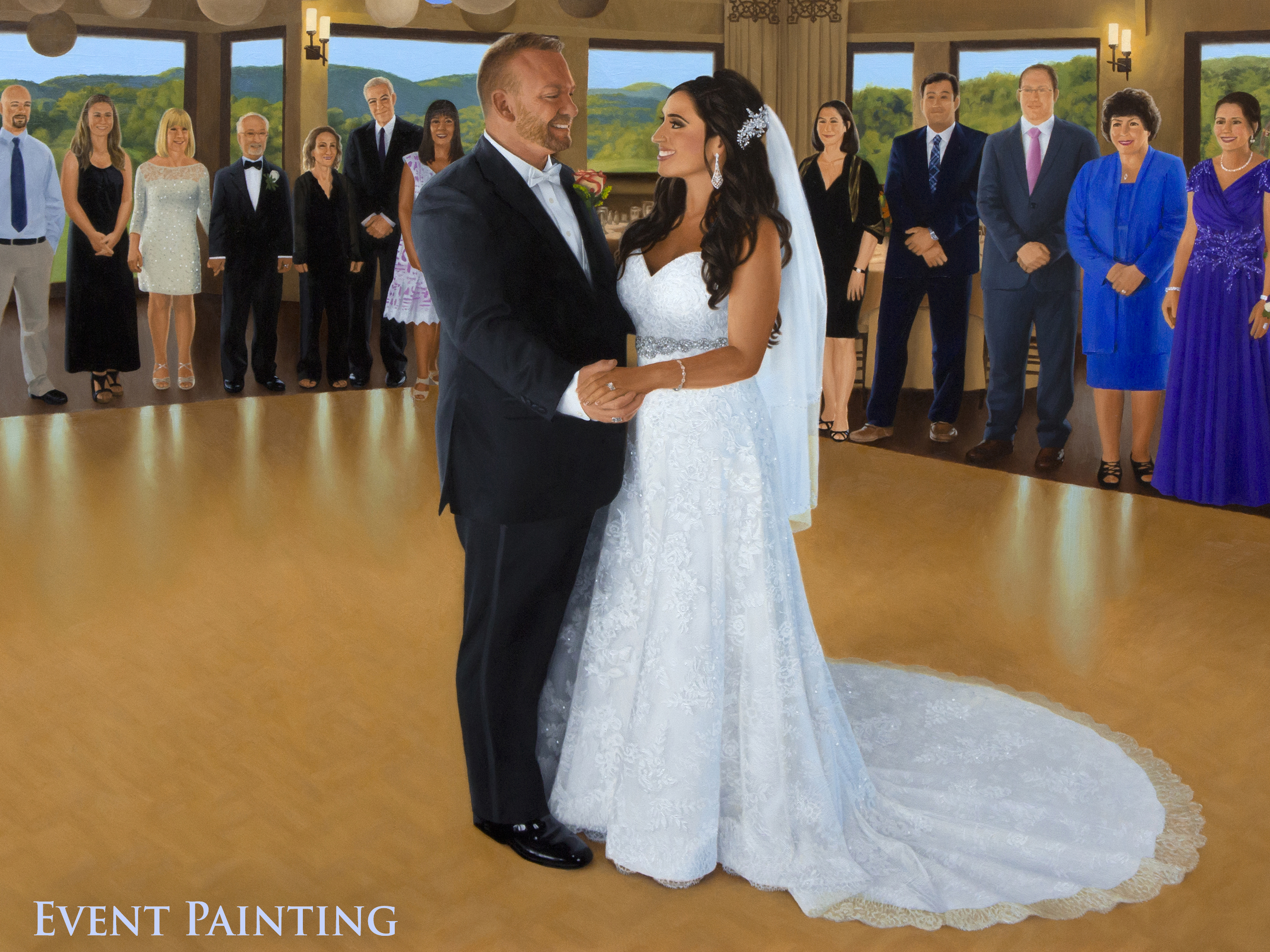 Scenic Golf Club Reception In The Rustic Hills Of New Jersey - Live Event Painter Anthony Galati