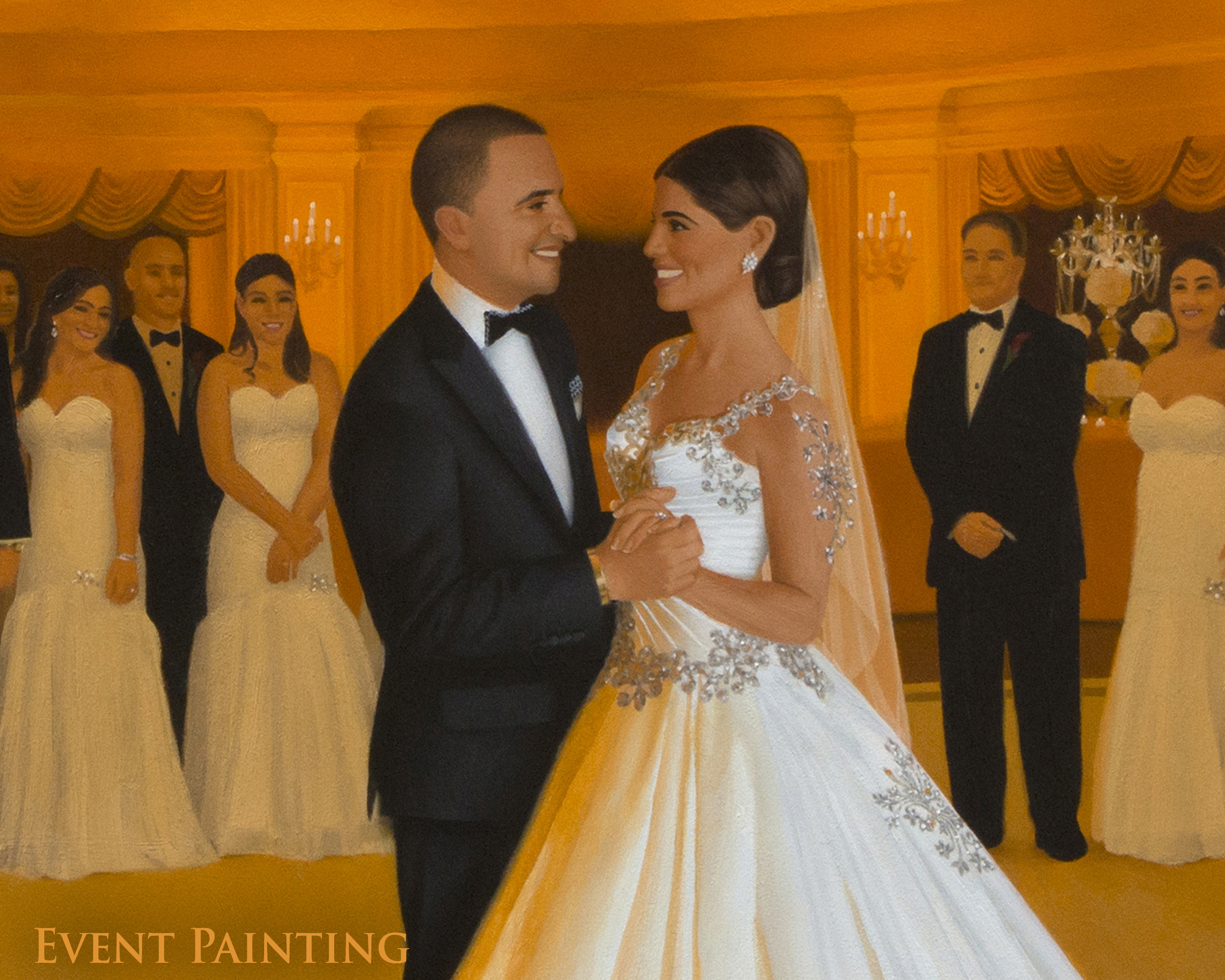 Regal Long Island Luxury Wedding At Oheka Castle - Live Event Painter Anthony Galati