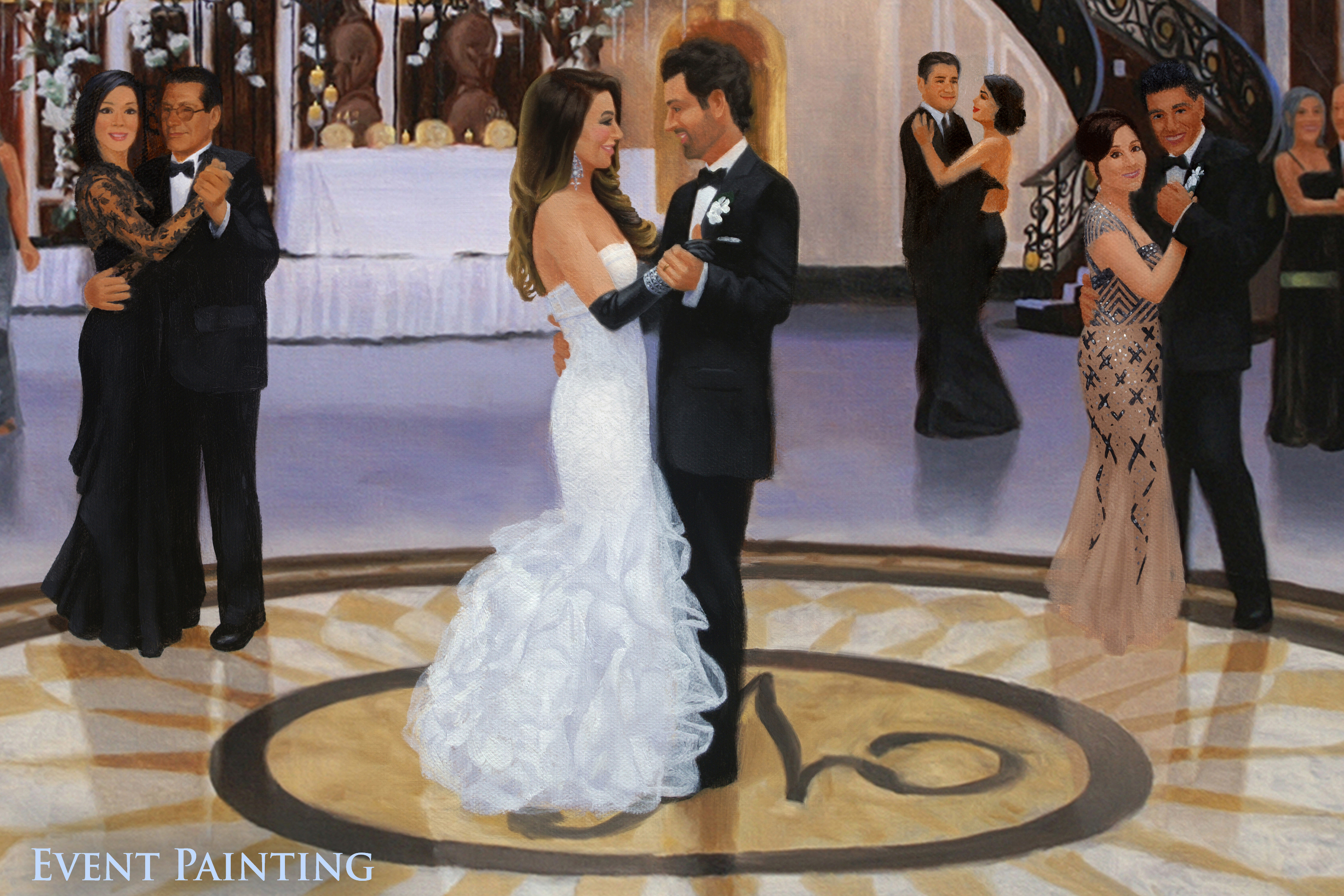 Larger Than Life New Jersey Wedding at The Venetian - Live Event Painter Anthony Galati