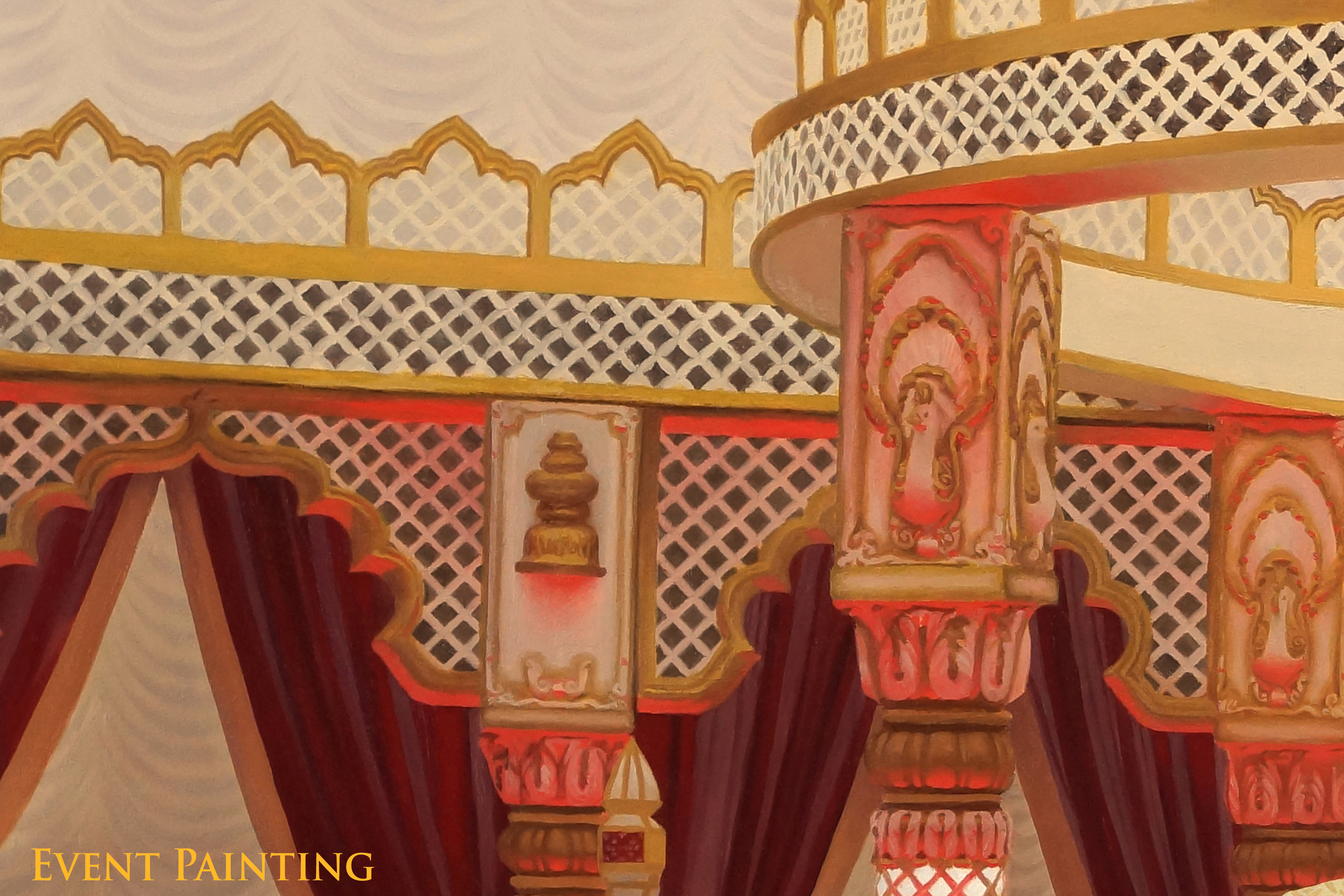 Beautifully Ornate Traditional Indian Wedding Ceremony in Philadelphia - Live Event Painter Anthony Galati
