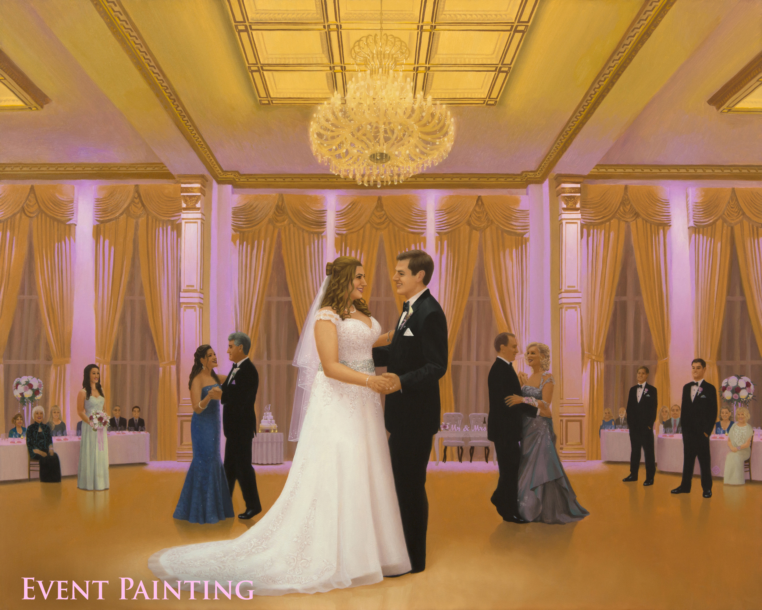 Romantic North Jersey Wedding Reception At The Tides Estate - Live Event Painter Anthony Galati