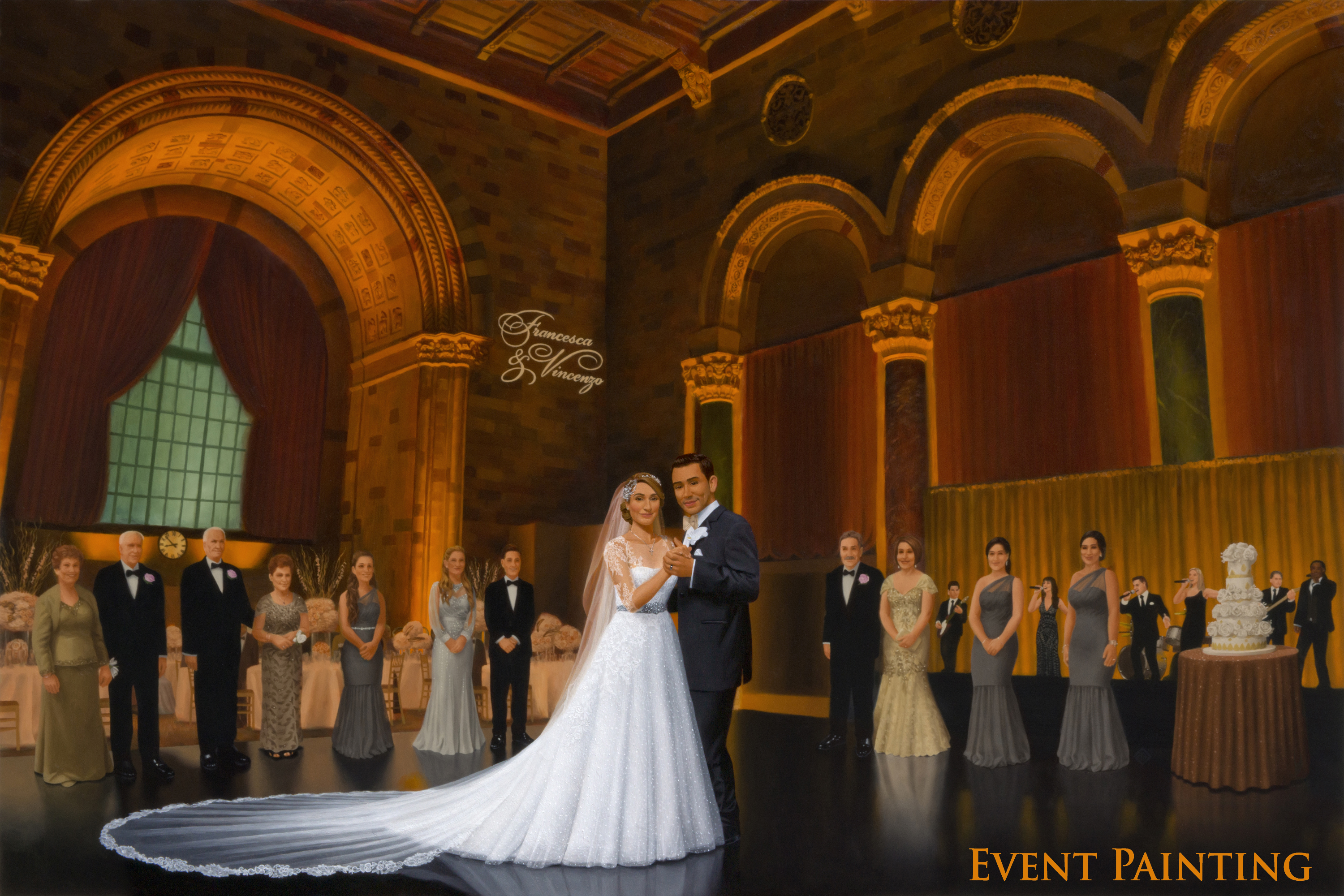 Magestic New York City Wedding Reception at Historic Cipriani 42nd Street - Live Event Painter Anthony Galati