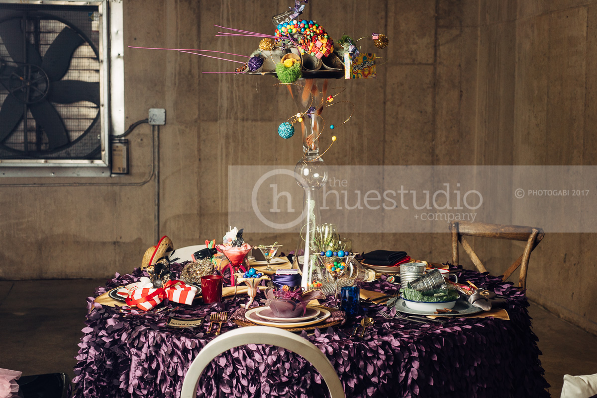 "A festive tablescape set for five lucky Golden Ticket winners!  More of ""Pure Imagination"" at http://www.thehuestudio.com/blog/2017/06/20/pure-imagination/"