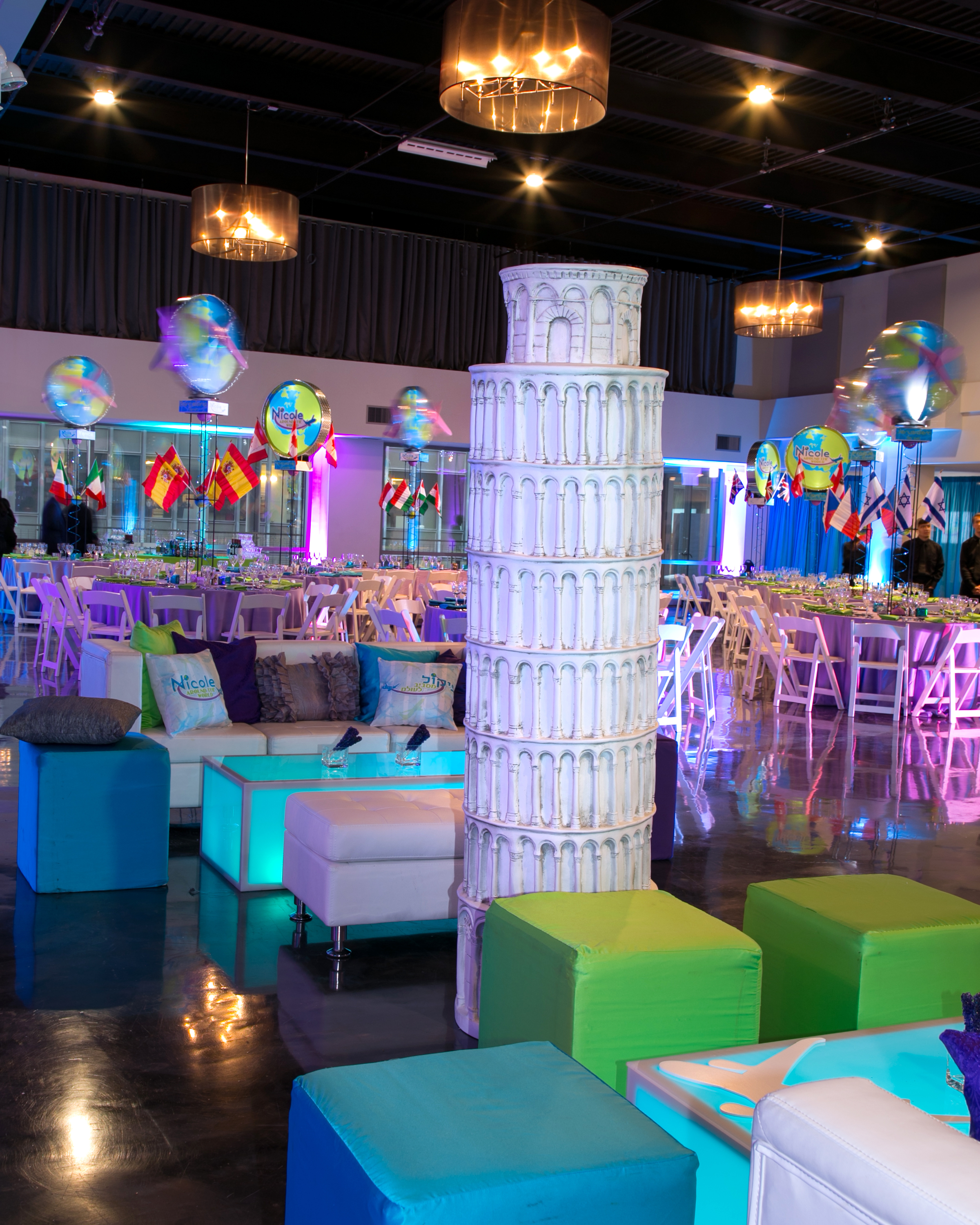 Around the World themed bat mitzvah - Epic Events