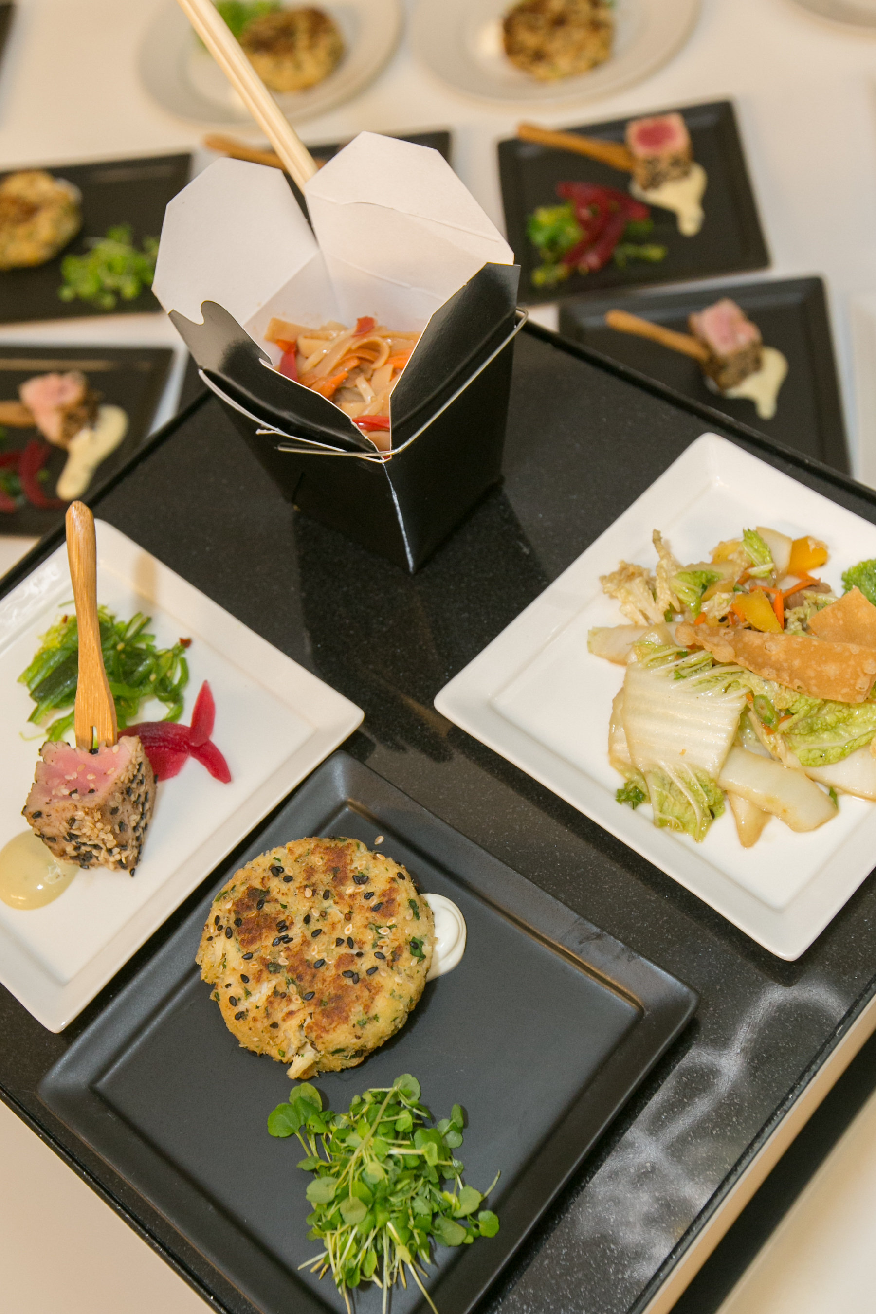 Asian Rice Stick Noodle Salad with Julienne Vegetables in Chinese To-Go Boxes, Fresh Vietnamese Spring Roll Salad with Wonton Strips and Citrus Sesame Vinaigrette and Sesame Crusted Crab Cakes with Ginger Cream and Micro Cress
