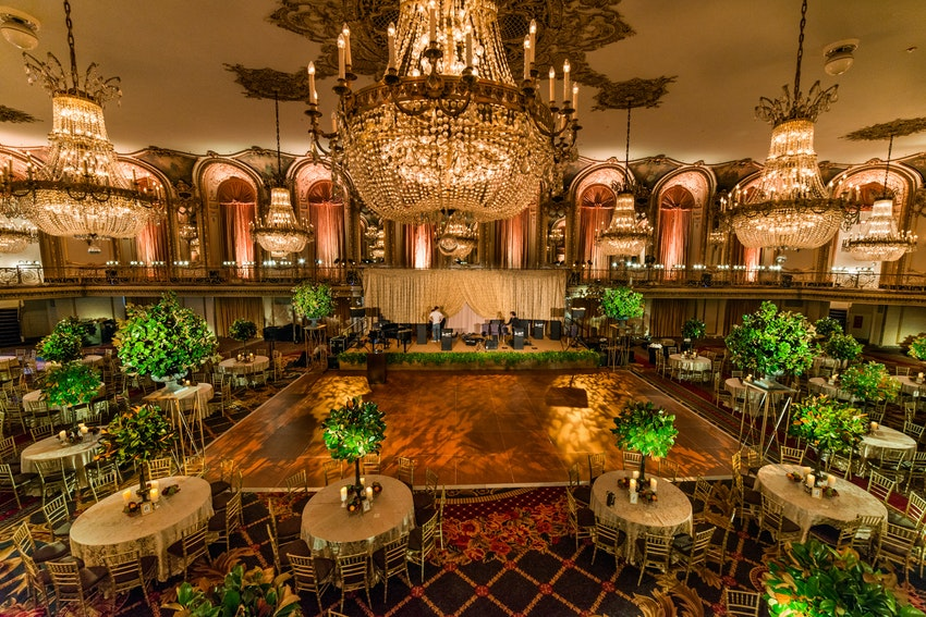 Green and gold decor for the Lyric Opera gala at the Hilton Chicago.